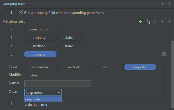 JavaScript code arrangement settings in Rider