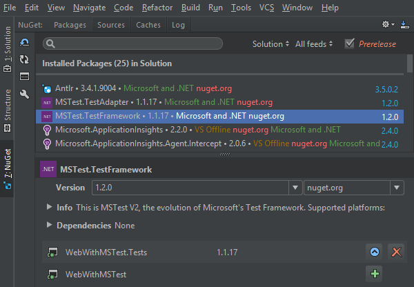 NuGet tool window in vertical layout