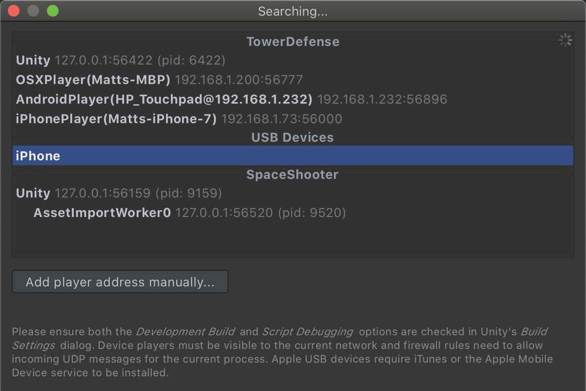 USB debugging for Apple devices