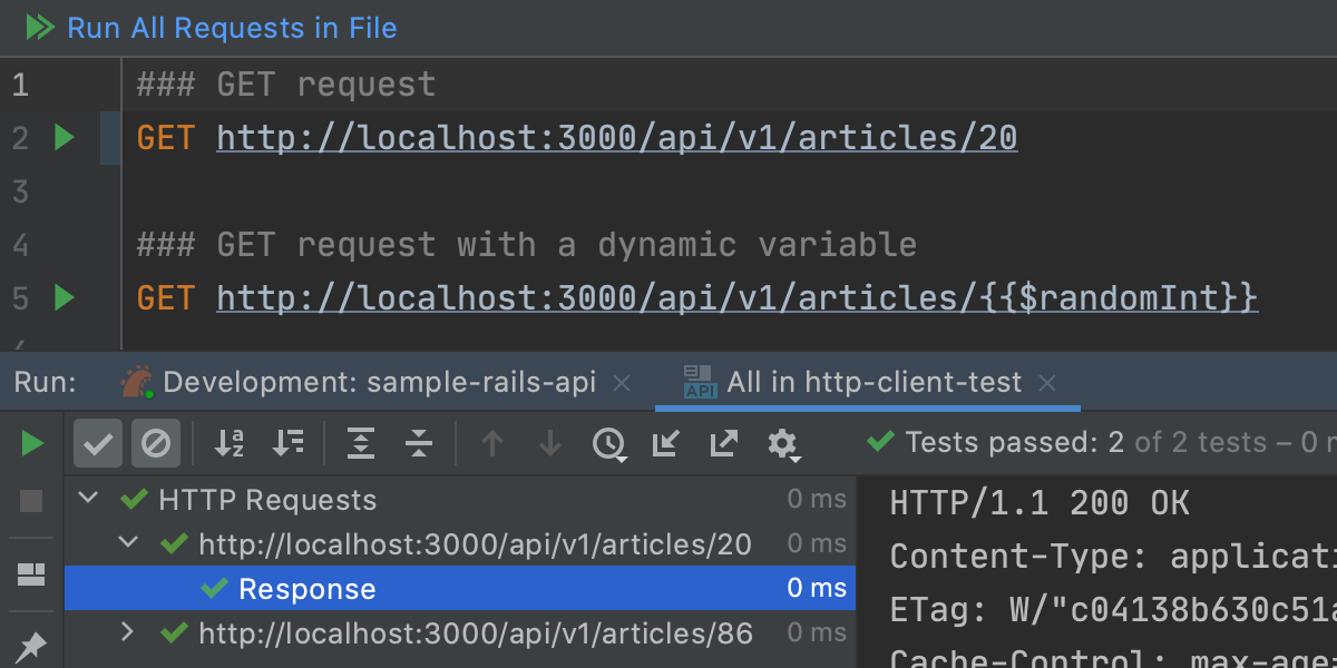 HTTP client in the code editor