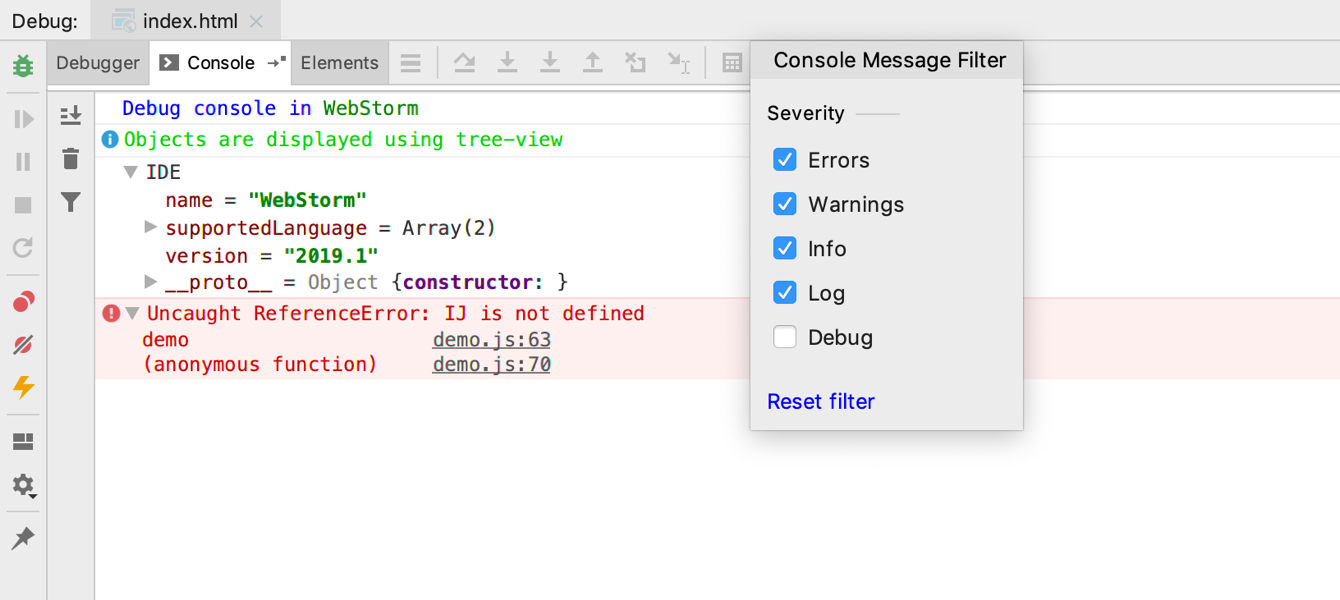 New debugger console