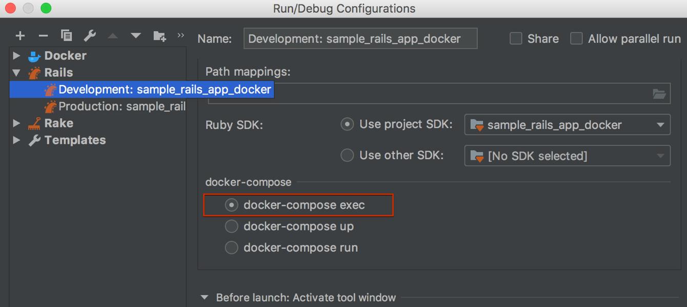 Docker-compose exec