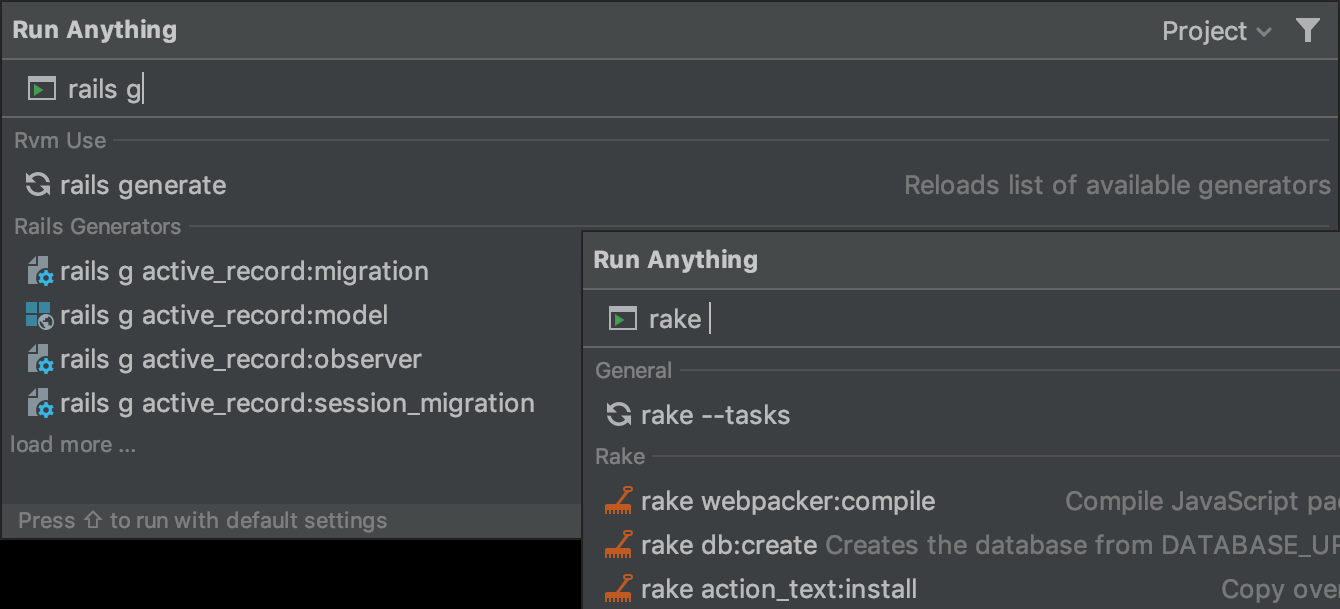 Run Rails tasks with Run Anything