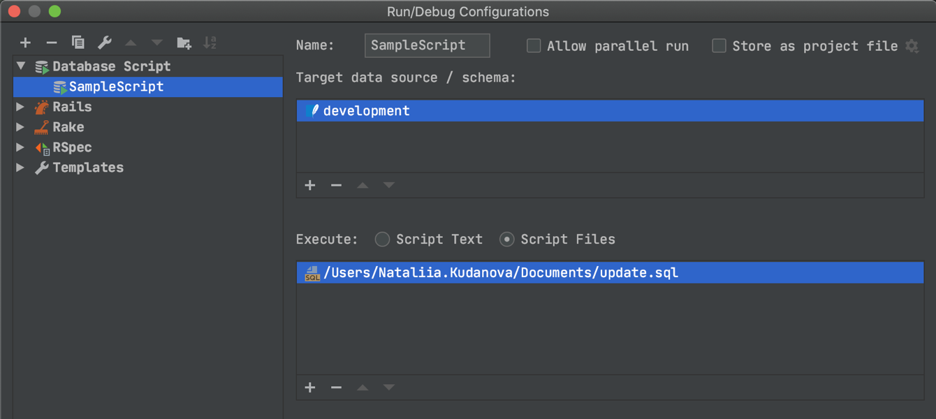 Database scripts in run configurations