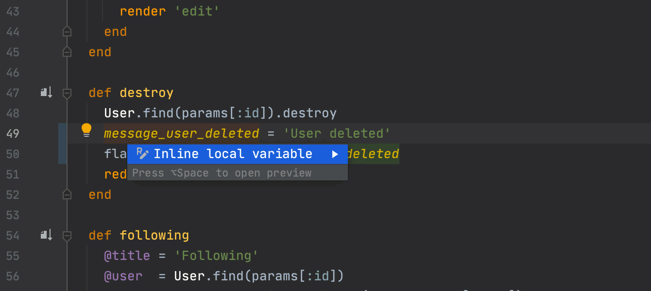Inline local variable