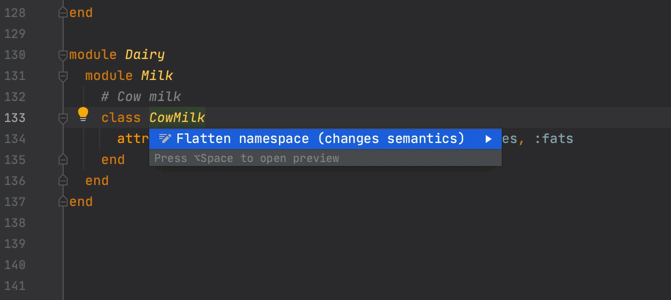 Expand or flatten namespace