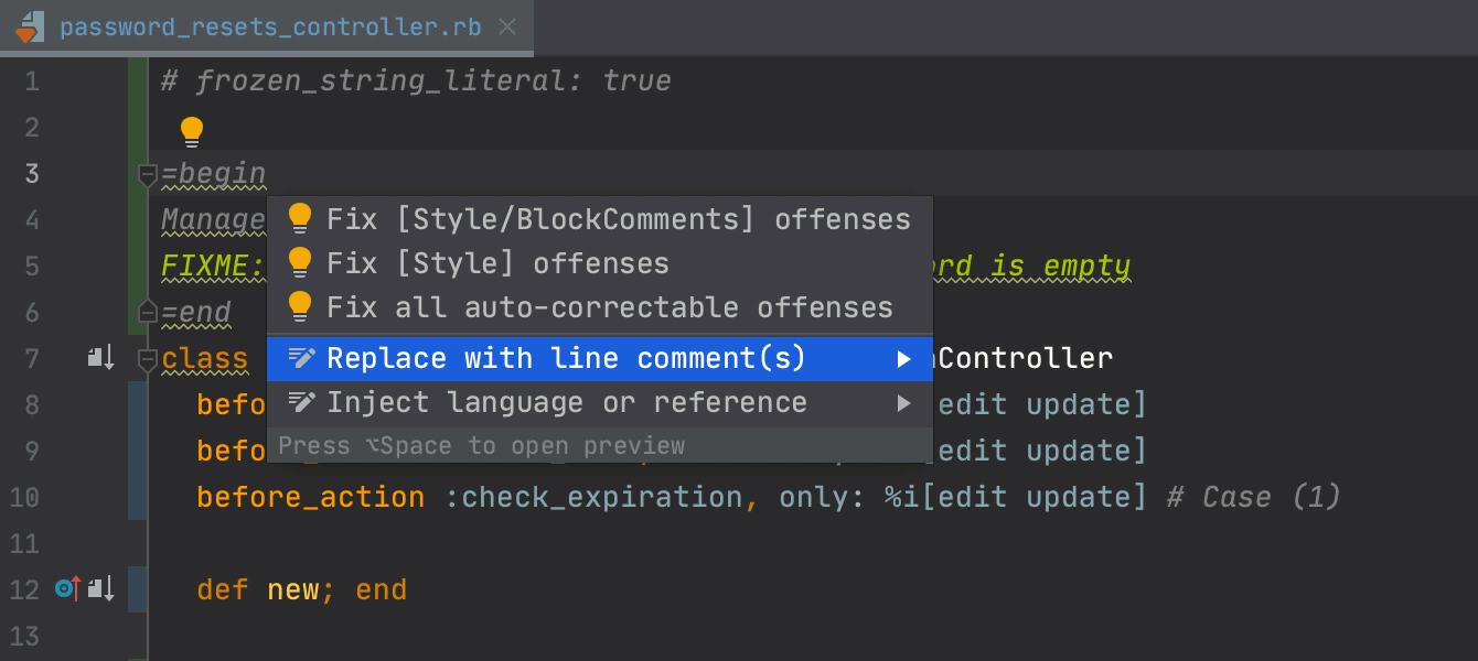 Switch between block and line comments