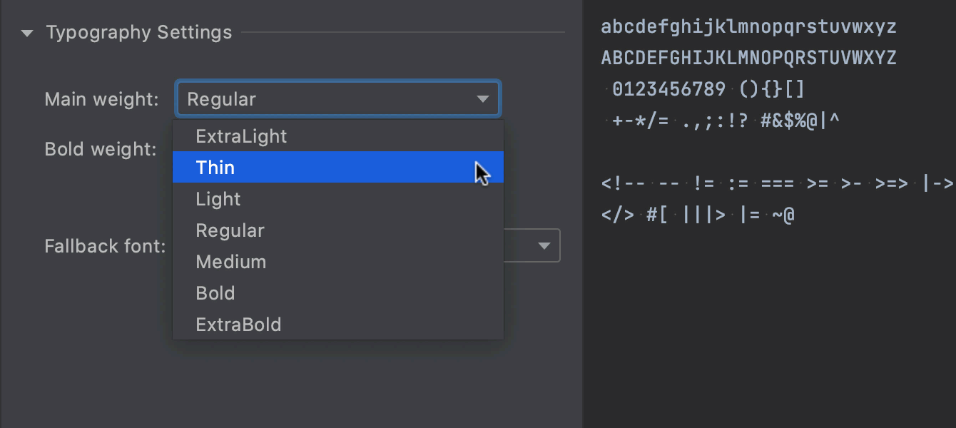 Adjustable font weight