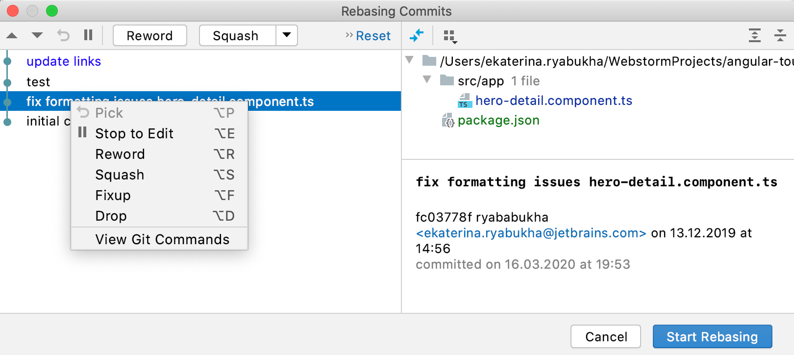 Reworked dialog for rebasing commits