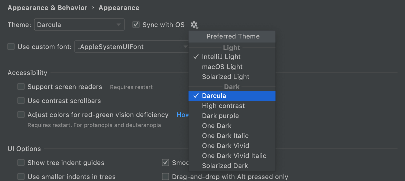 IDE theme synced with OS settings