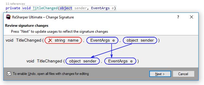 'Change signature' refactoring