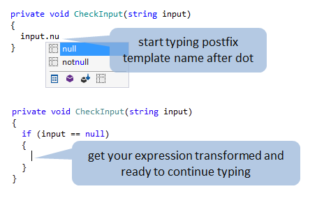 Code generation with postfix templates