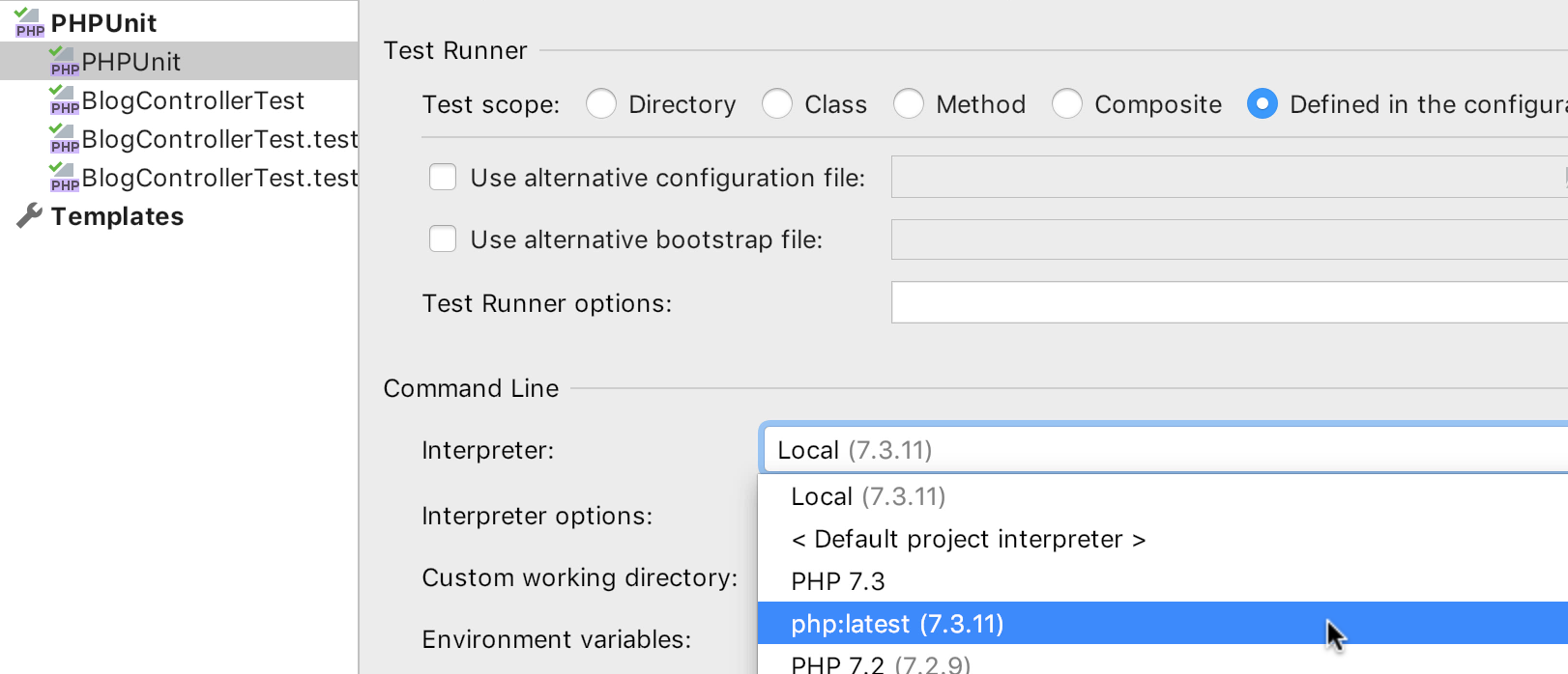 Specify the interpreter for PHP test run configurations