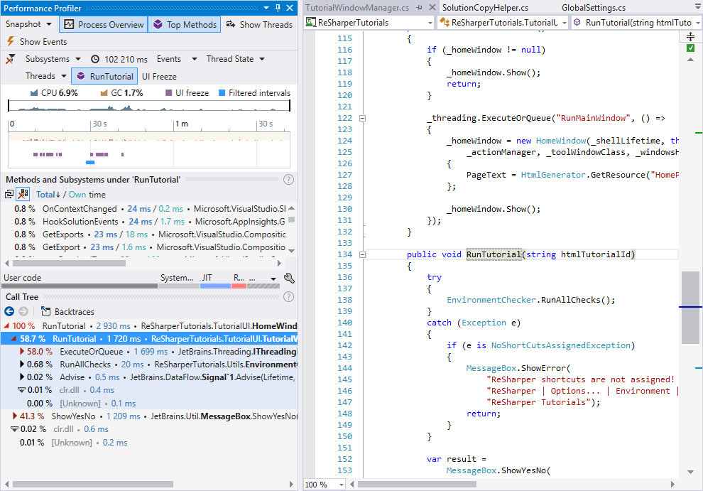 dotTrace integrated in Visual Studio