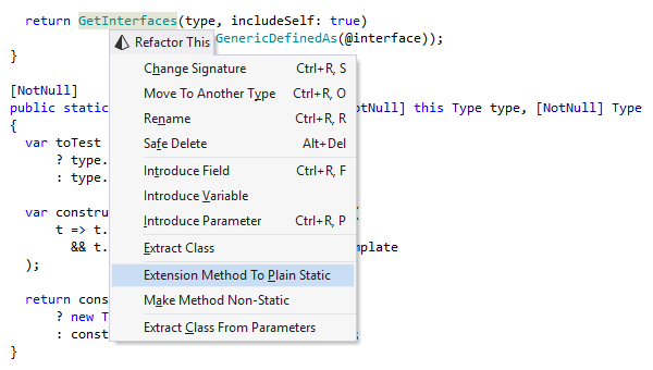 Convert Extension Method to Static refactoring in ReSharper