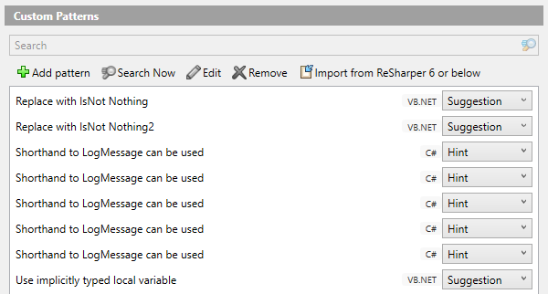 Search and replace patterns listed in ReSharper Pattern Catalog