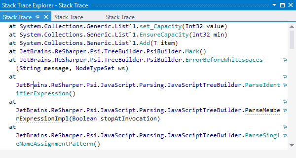 Stack Trace Explorer in ReSharper