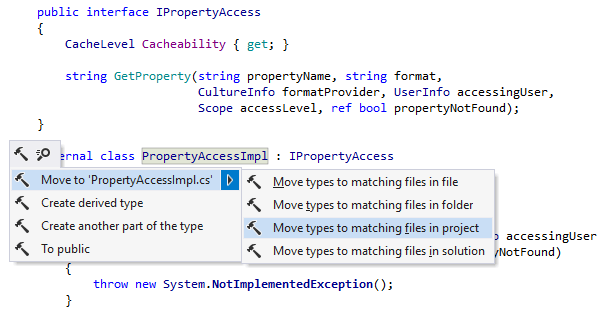 Move Types into Matching Files refactoring in ReSharper