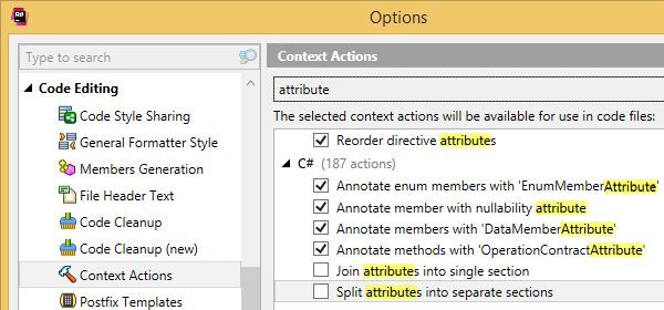 Context actions settings