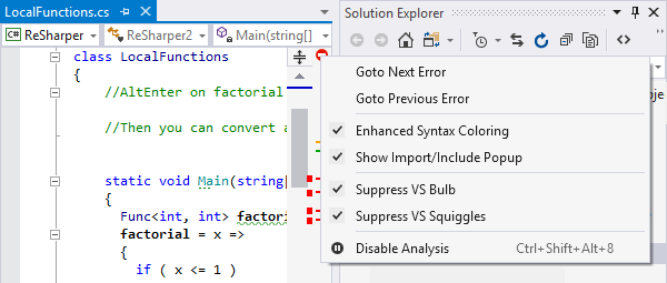 Context menu on status indicator