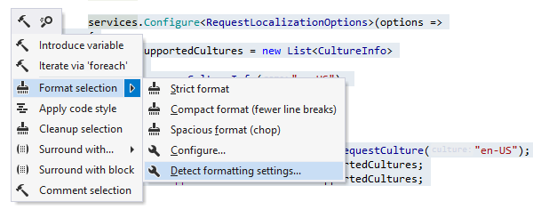 Auto-detection of formatter settings and the naming style