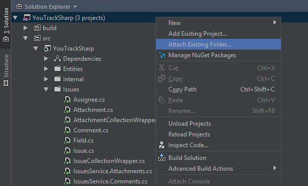 Attach existing folder to solution