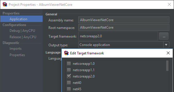 Properties for .NET Core projects