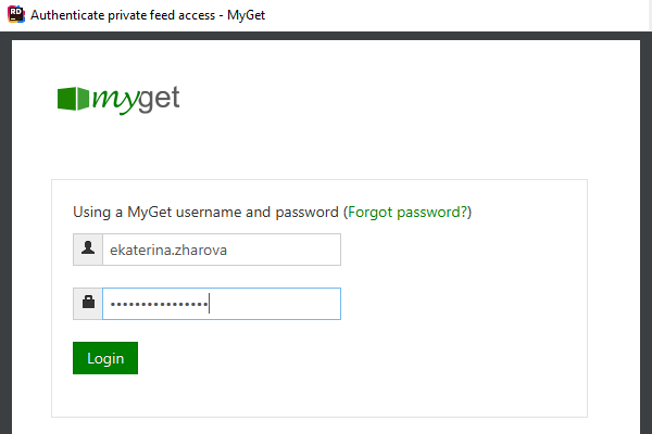 Built-in credential provider for MyGet